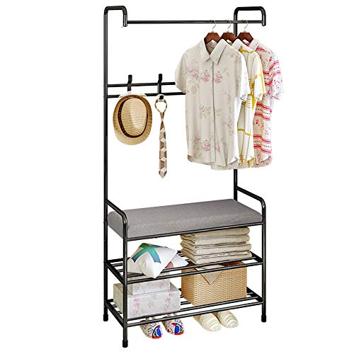 FKUO Entryway Hall Tree, Multifunction Coat Rack Shoe Bench, Storage Shelf Organizer, Hangers with cushion, Living Room Furniture
