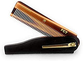 GBS Men's Folding Anti-Static No Snag All Purpose Hair and Beard Tortoise Comb- Handmade Sawcut - 100mm Fine Teeth with Pocket Clip Best Travel Comb Professional Choice