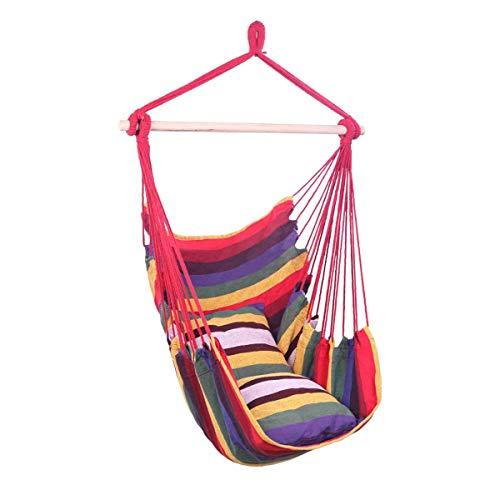 DJLOOKK Silla Tipo Hamaca para Exteriores en Interiores, con Capacidad para 400 Libras, Silla Colgante de Cuerda con 2 Cojines, para Patio, Dormitorio o árbol,Rojo