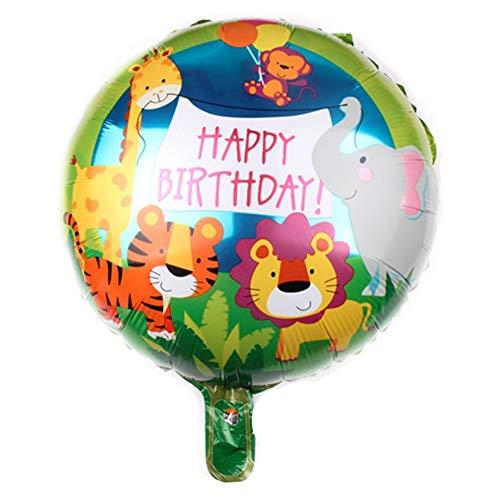 DIWULI, Geburtstags Luftballon Happy Birthday, Folien-Luftballon, Geburtstagsballon, bunter Folien-Ballon mit Tieren für Geburtstag, Mädchen Junge Kindergeburtstag Party, Dekoration, Geschenk-Deko