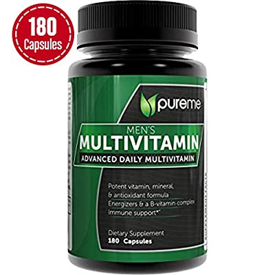Pureme Men's Daily Multimineral/Multivitamin Supplement - Vitamins A C E D B1 B2 B3 B5 B6 B12. Potent Vitamin Mineral and Antioxidant Formular for Heart and Immune Health. 180 Capsules