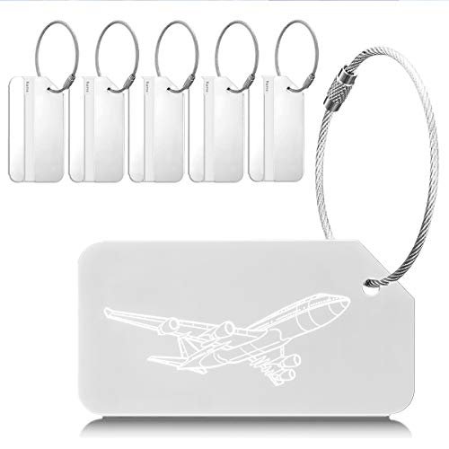 Luggage Tags Metal Travel Suitcase ID Labels Baggage Bag Tags, 6 Pack, Silver