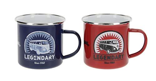 BRISA VW Collection - Volkswagen Furgoneta Hippie Bus T1 Van Set de 2 Tazas de Café Esmaltadas en Caja de regalo, Copas de Té, Decoración de la Mesa/Outdoor/Camping/Souvenir (Rojo/Azul)