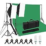 Andoer Softbox Profesional para Fotografía de Estudio con Cajas de Luz 50 * 70cm *2 / 25W 5500K Bombillas * 2 / 2M Soporte de Luz * 2/ Juego de Soporte de Fondo *1 / Fondos * 3 / Abrazaderas * 6