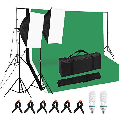 Andoer Professional Studio Photography Set di Illuminazione tra cui Scatole Morbide da 50*70 cm * 2 / 125W 5500K Lampadine * 2 / 2M Supporto Luci * 2/ Set Supporto Sfondo * 1/ Sfondo *3 / Morsetti * 6