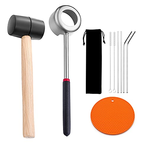 Coconut Opener Tool Set, Stainless Steel Coconut Opener Set with Hammer Food Grade Opener Kit for Coconut with Rubber Hammer, Straws, Brush, Silicone Mat, All In One Bag, Super Safe & Easy to Open