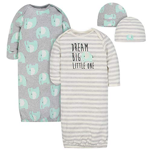 Gerber Baby 4-Piece Organic Gown and Cap Set, Happy Elephant, 0-6 Months