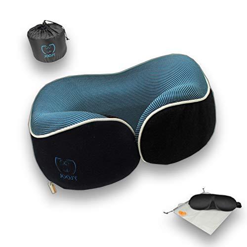JOOJY Almohada cervical de viaje, almohada de viaje de espuma de memoria pura, 360 ° alrededor del cuello, kit de viaje con máscara de ojos 3D, bolsa de tapones para los oídos.