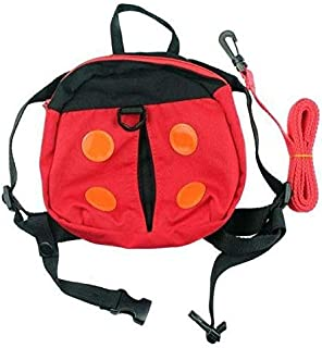 Red Ladybird Cartoon Canvas Kids Backpack Lost prevention Bag Cute Schoolbag for Children