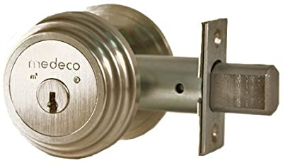 Medeco 11TR50319 Maxum Residential Single Cylinder Deadbolt, Satin Nickel, High Security Restricted M3 Keyway, Keyed Different