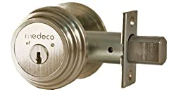 Medeco patented technology. #1 Rated Deadbolt. Uses key outside - thumb turn inside. No unauthorized key duplication. Bump and pick proof. Locks are keyed different.