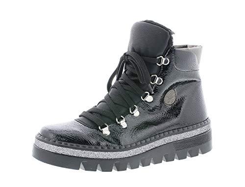 Rieker Damen Stiefel, Frauen Schnürstiefel, Women Woman Freizeit leger Boots Combat schnürung gefüttert,Black,41 EU / 7.5 UK