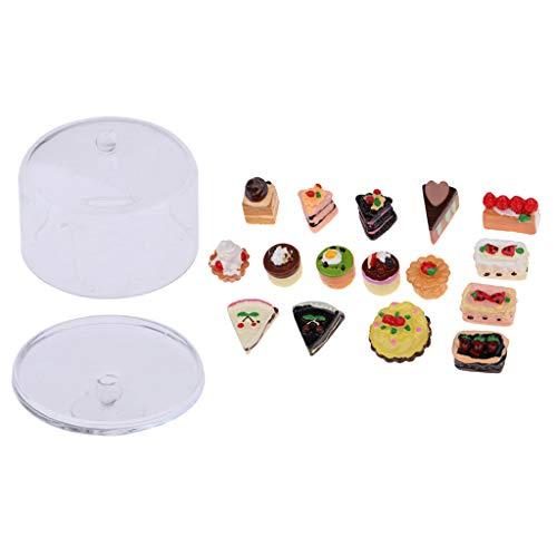 SM SunniMix Mini Pastel de Casa de Muñecas a Escala 1/12 con de Bandeja de Pastel Accesorio de Juguetes de Cocina