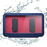 DEJIMAX Ducha Estuche Impermeable para Teléfono, Soporte para Teléfono Montado en la Pared, Pantalla Táctil,Baño, Inodoro,Estuche para Teléfono de Cocina para Teléfonos de Menos de 7 Pulgadas, Azul