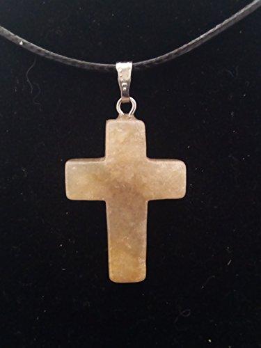 Colgante en Piedra, Cruz color Blanco con vetas marrones