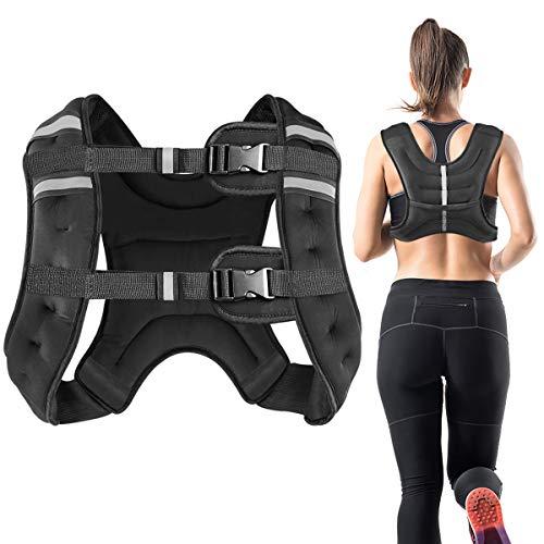 Vailge Gewichtsweste, 2kg/5kg/10kg Laufweste, Training mit Gewichten Trainingsweste für Fitness, Krafttraining, Laufen, Cross Training, Muskelaufbau(Schwarz,5kg)