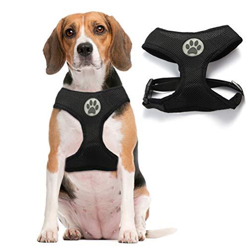 Soft Mesh Dog Harness Pet Walking Vest Puppy Padded Harnesses Adjustable, Black Medium