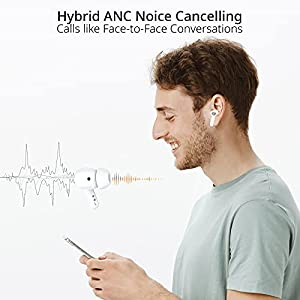 Blackview AirBuds5 Pro Wireless Earbuds, Hybrid Active Noise Cancellation ANC Bluetooth Headphones, IR in-Ear Detection Earphones, IPX7 Waterproof Headset, Premium Deep Bass True Wireless Earbuds