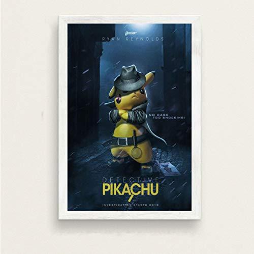 LGXINGLIyidian Pokemon Detective Pikachu Art Movie Silk Painting Canvas Poster De Pared Decoración para El Hogar N182K 40X60Cm