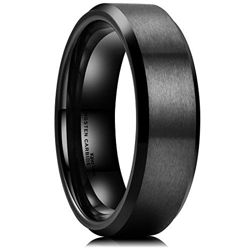 King Will Basic 6mm Black Tungsten Wedding Band Ring Matte Finish Center Beveled Polished Edge 10.5