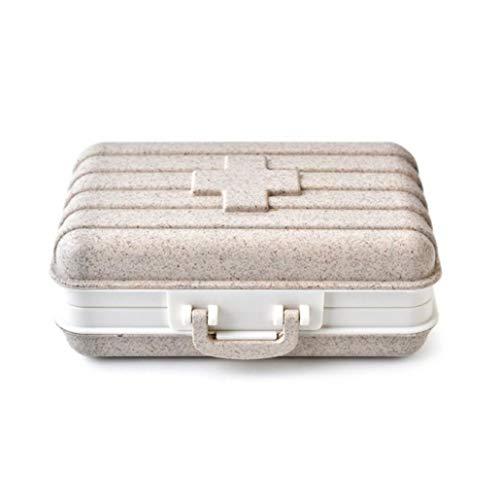 Uticon Reise-Koffer, Mini-Reisekoffer, Weizenstrohhalm, 6 Fächer, Tablettenbox, Schmuckaufbewahrung, Beige