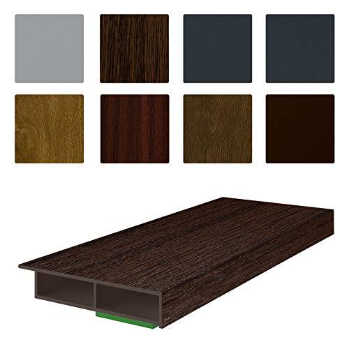 NOBILY *** Fenster/PVC Deckleiste Flachleiste Fensterleiste 50mm Breite x 7mm Höhe mit Überstand für Wandabschluss inkl. Schaumklebeband farbig - Länge 1950mm (5,08€ /m) - Farbe Eiche-Dunkel