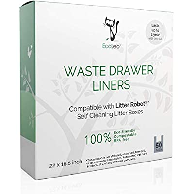 EcoLeo Liners, Compatible with Litter Robot, Compostable, Plastic-Free bags with Handles, Thick, for Automatic Litter Box Waste Drawer, 50-Count