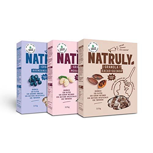 NATRULY Granola BIO, Frutos Secos y Semillas Sin Cereales, Sin Gluten y Sin Azúcar Refinado, Vegana, Mix 3 Sabores Pack 3x325g
