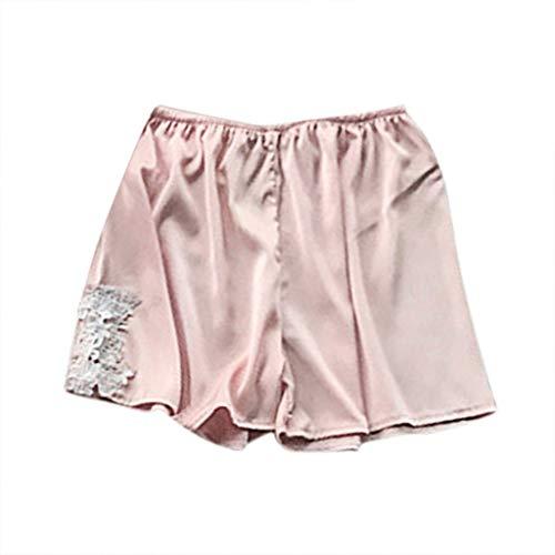 Pantalones Cortos de Seda Calzoncillos de Dormir Conjunto de Pijamas Verano Mujer...