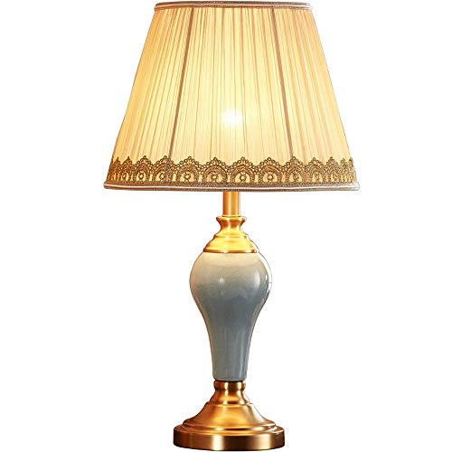 Stijlvolle Eenvoud Table Lamp, Postmodern Alle Copper Table Lamp, E27 Bed Verlichting Tafellamp, Beige Lace/Gold