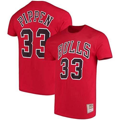 LSJ-ZZ Männer-T-Shirt Basketball Kleidung NBA Chicago Bulls # 33 Scottie Pippen Retro-Rundhalsausschnitt jeysey, Fitness Sport Breath Top,A,XXXL:185~190cm