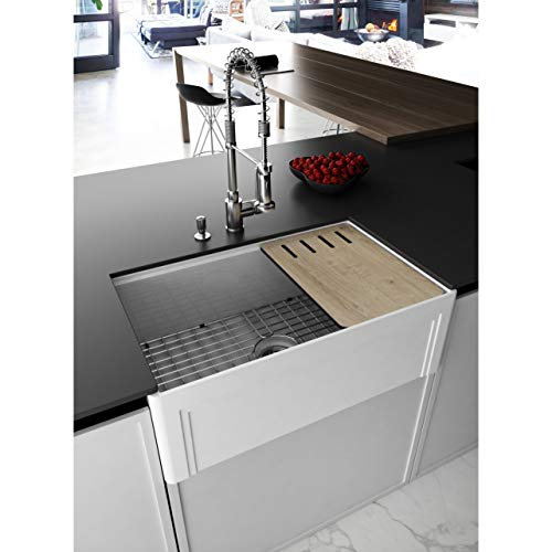 UKN 30 in. Workstation Reversible Farmhouse Kitchen Sink White Rectangle Glossy Rust Resistant Scratch