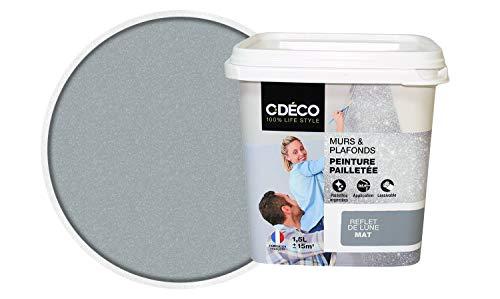 CDECO 3488570051986 Peinture Acrylique Intérieure Mur et Plafond Paillette, Gris reflet de Lune