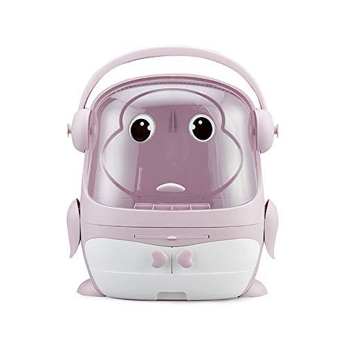 LSJZF Caja de almacenamiento cosmética multifunción, tipo cajón de pingüino, caja de almacenamiento cosmética para baño, aparador, diseño impermeable a prueba de polvo con asa, color rosa