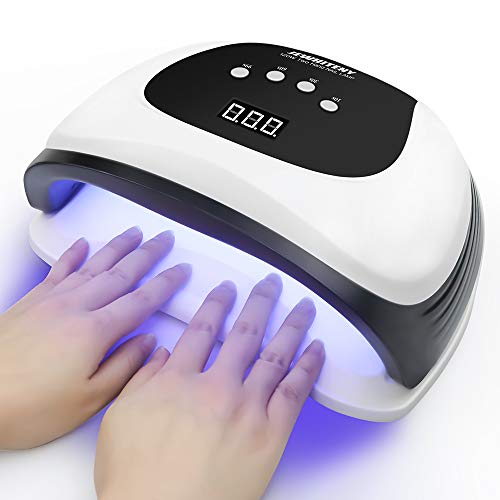 120W UV LED Nail Lamp, Nail Dryer for Gel Polish with 54 Light Beads, Upgraded Curing Lamp for Fingernail and Toenail Auto Sensor Dual Light Source Nail Machine