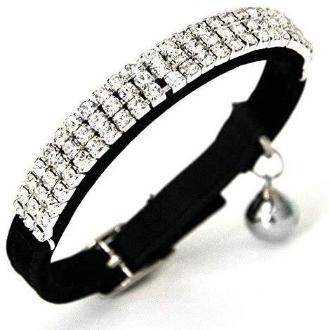 Chukchi, morbido collare per gatti regolabile in velluto, con strass bling e campanellini; 27,9cm per cani di piccola taglia e gatti