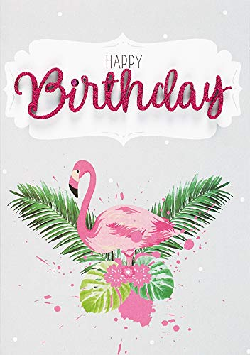 Geburtstagskarte Lettering - Happy Birthday, Flamingo - 11,6 x 16,6 cm