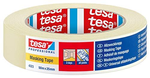 Tesa Professional Allzweckkrepp, für Innenbereich, 3 Tage rückstandsfrei entfernbar, 25mmx50m