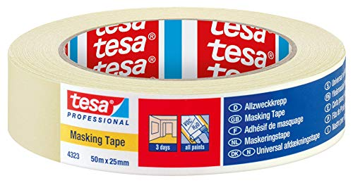 tesa 4323 Indoor Masking tape for painting and decorating - 3 Day residue free removal, 50 m x 25mm - 1 roll