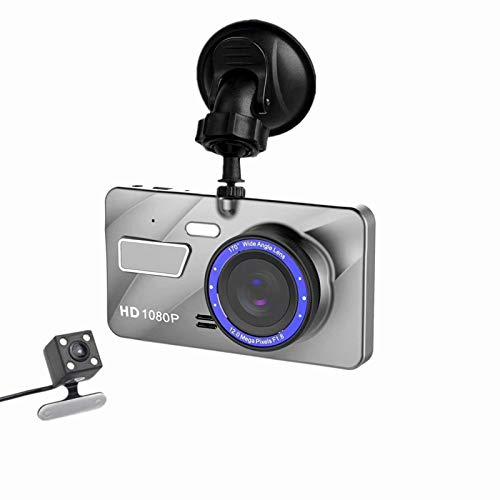 4' Cámara de Coche, Cámara de Coche Retrovisor para Automóviles 1080P Full HD 170° Gran Angular, Grabación Bucle, Monitor Aparcamiento, Pantalla LCD, G-Sensor,Blanco