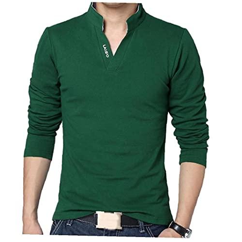 Sanfiyya mannen Spring katoenen T-shirt voor mannen effen kleur T-shirt opstaande kraag met lange mouwen Top Heren Merk Slim Fit T-Shirts