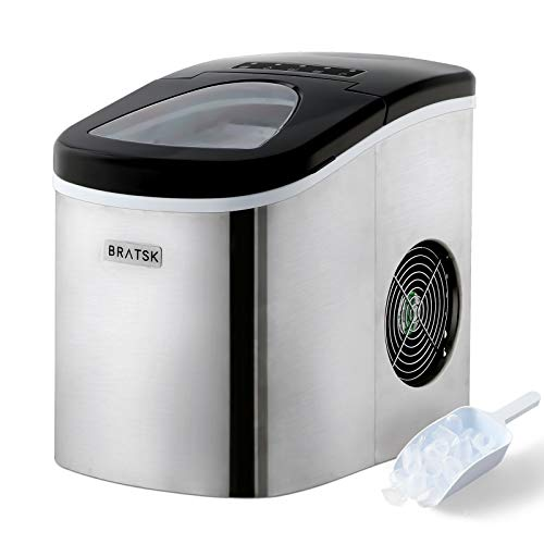 Bratsk Ice Maker Portable 26lbs 24Hrs, Ready in 8mins, Countertop Automatic Ice Cube Maker Machine, Ice Scoop and Basket…