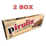 2 pack Pirulin Wafer Roll Deluxe Edition, Barquilla rellena de Chocolate y Avellanas