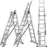 ALDORR Reformleiter 3x8 Klappleiter aus hochwertigem Aluminium   Mehrzweckleiter   Belastbarkeit bis zu 150kg   Sicher und zuverlässig (EN131)