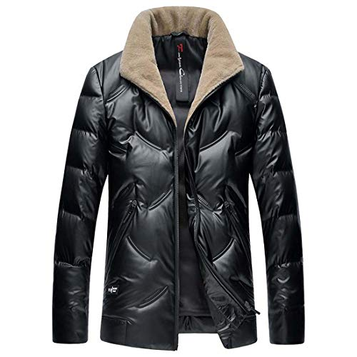 Yuyudou Neue Herren Daunenjacke, Gepolsterter Winter Mantel mit Pelzkragen Steppjacke, schwarzer Daunen Mantel,Schwarz,M