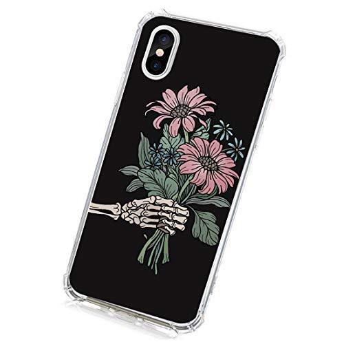 Funda compatible con iPhone XS Max, funda flexible de silicona con flores y cráneos, resistente al polvo, diseño de calavera, transparente, resistente a los arañazos 6 Talla única