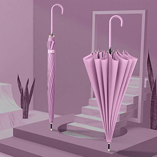 QFUNDAS Anti-UV Paraguas Recto Liso de 16 Huesos, Paraguas pequeño Fresco con Mango Largo, Paraguas con Mango de Cuero fácil de Llevar/B