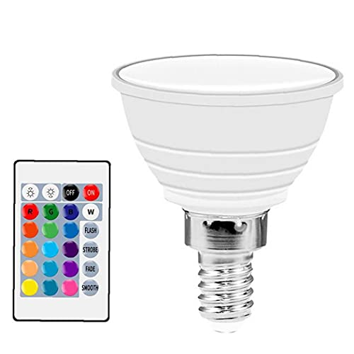 OMMO LEBEINDR Led RGB del Punto De Luz Que Cambia De Color Spotlight Led-Bulbs Regulable Bombillas con Control De Ambiente De La Lámpara a Distancia (Color Amarillento)