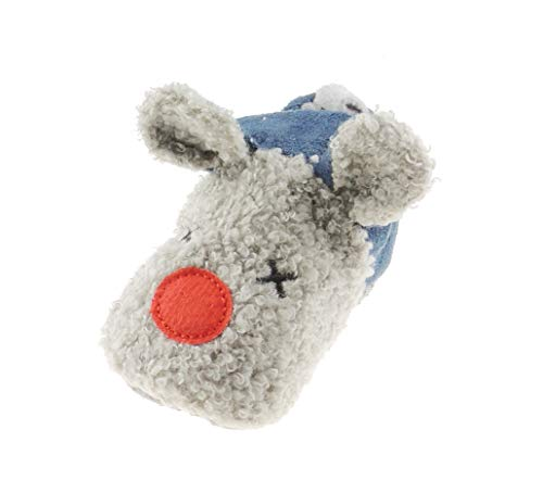 Glamour Girlz Baby Girls Boys Plush Grey & Navy Red Nose Reindeer Boot Booties Slippers (3-6 Months, 3_Months)
