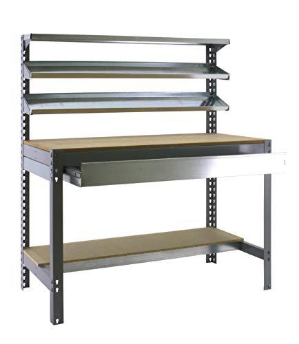Banco de trabajo BT1 con cajón Simonwork Gris/Madera Simonrack 1445x1510x760 mms - Banco de trabajo resistente - mesa de trabajo industrial 600 Kgs de capacidad por estante